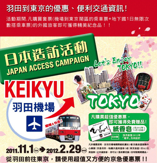 東京旅遊必買★京急、羽田地鐵共通周遊券通用套票