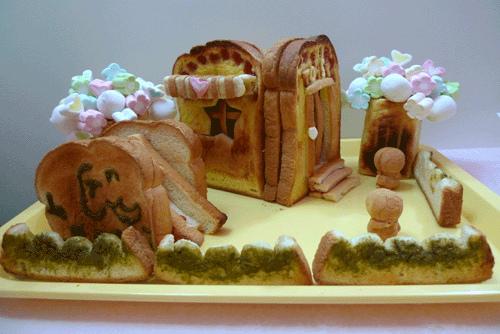 創意吐司料理★用吐司做大象溜滑梯★麵包店★棉花糖樹